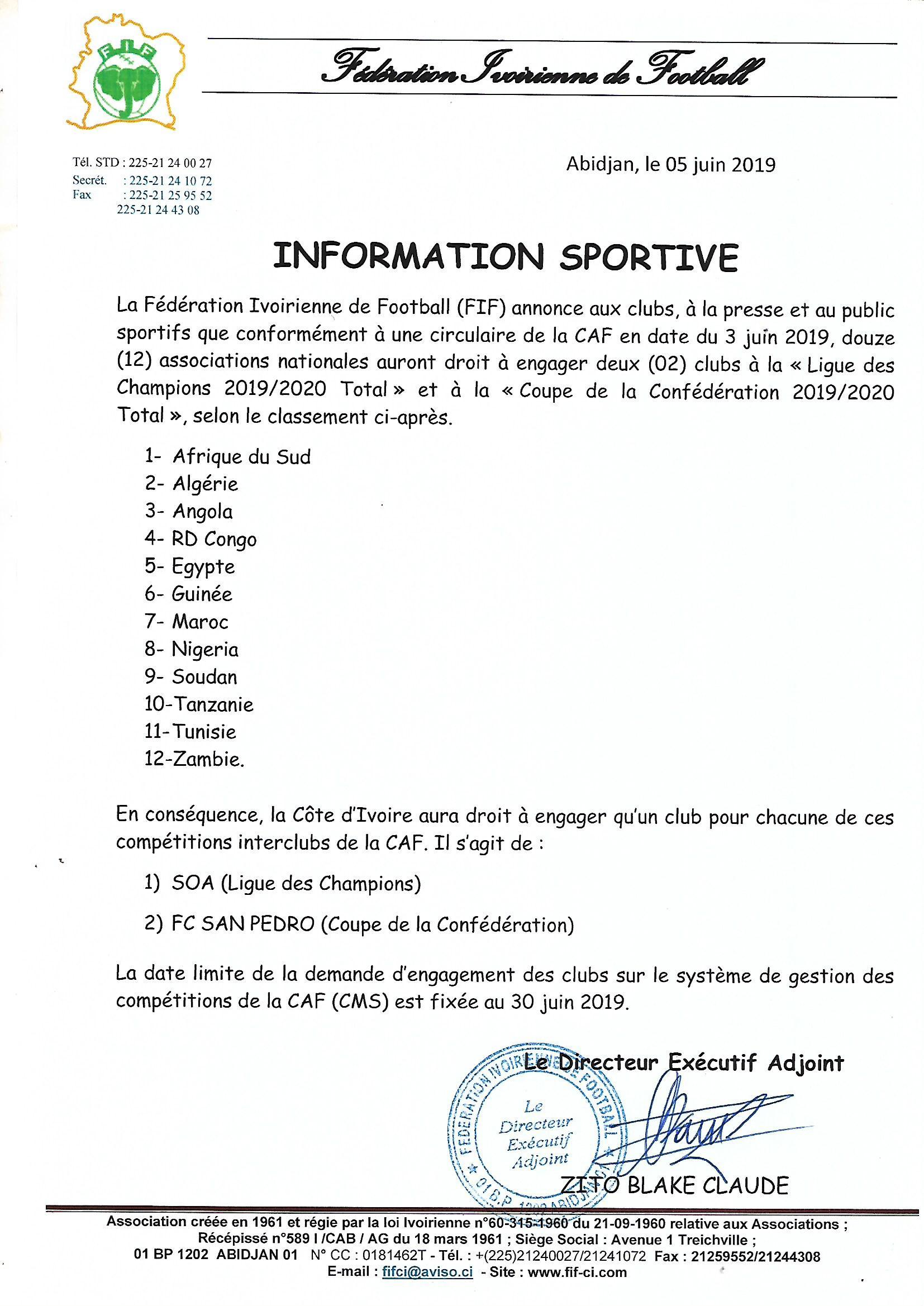 Calendrier De La Caf 2020.Competitions Interclubs Caf 2019 2020 La Cote D Ivoire Aura